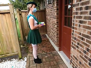 Girl scout selling cookies gets fucked by patriarch cadger