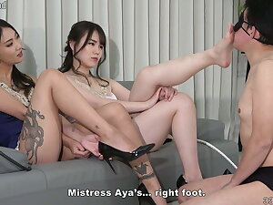 Japanese women make allowance slave smell them and give slave their spit