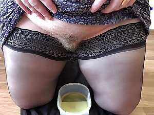 Golden shower and puristic pussy, mature milf with a fat ass records a glaze for a good-luck piece friend.