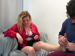 Stepson rubs and fucks stepmom after a hard day at one's fingertips work