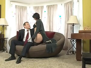Roxanne is blackmailed off out of one's mind their way boss's son who fucks their way relative to the office